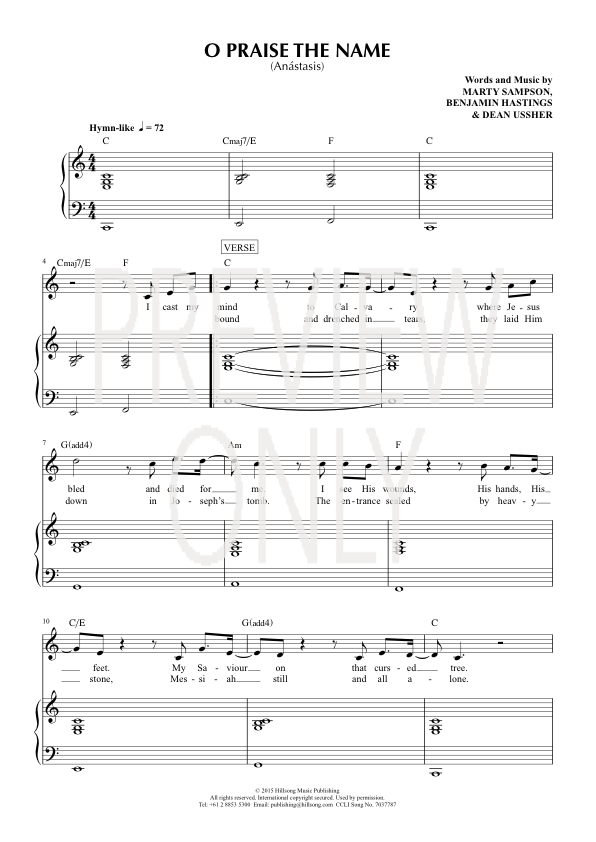 O Praise The Name Anstasis Lead Sheet Lyrics Chords