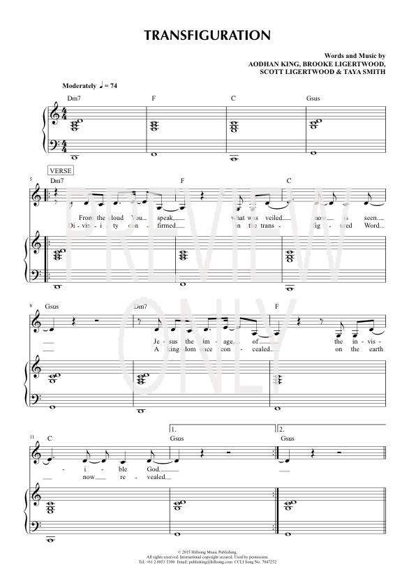 Transfiguration Lead Sheet Lyrics Chords Hillsong Worship