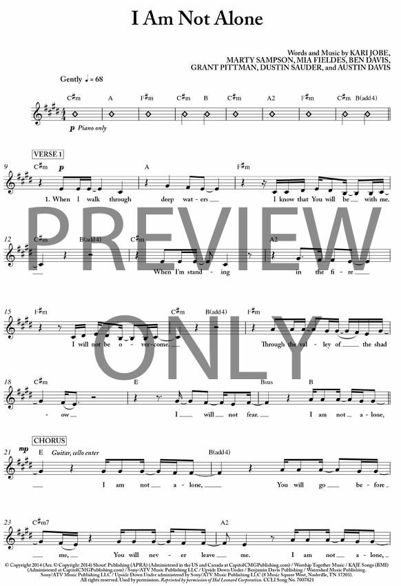 I Am Not Alone Lead Sheet, Lyrics, & Chords | Kari Jobe ...