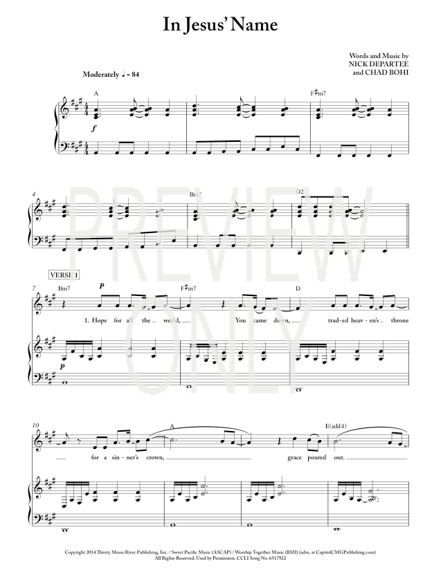 In Jesus' Name Lead Sheet, Lyrics, & Chords | Kutless