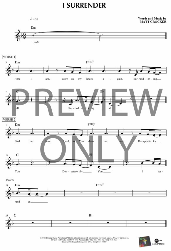 I Surrender Lead Sheet Lyrics Chords Hillsong Worship