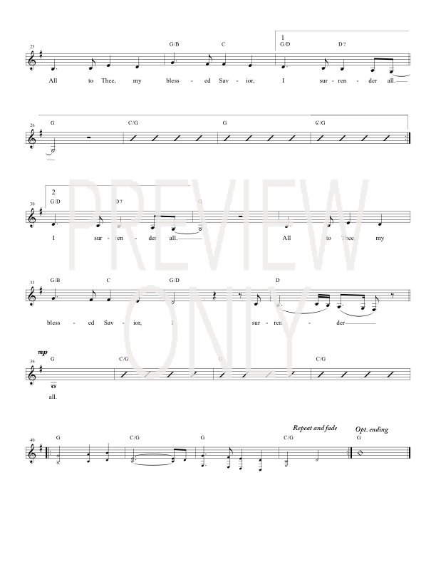 I Surrender All Lead Sheet, Lyrics, & Chords | Joey + Rory ...