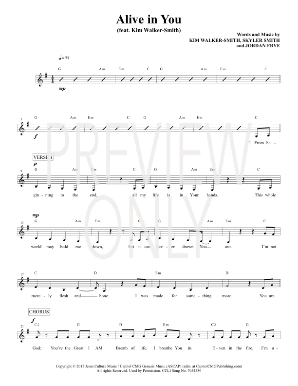Alive In You Lead Sheet, Lyrics, & Chords | Jesus Culture ...
