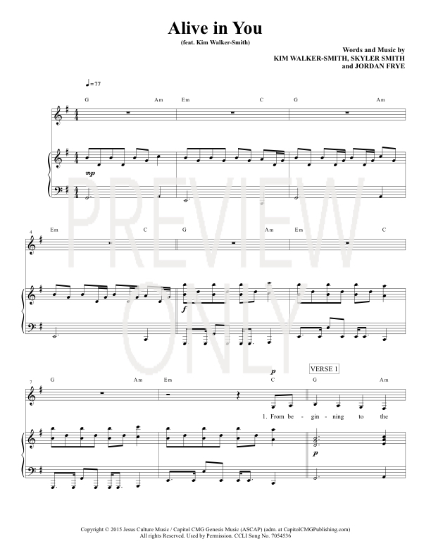Alive In You Lead Sheet Lyrics Chords Jesus Culture