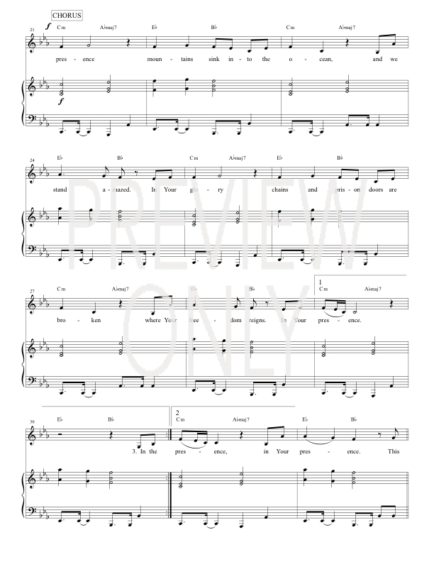 In Your Presence Lead Sheet Lyrics Chords Jesus Culture