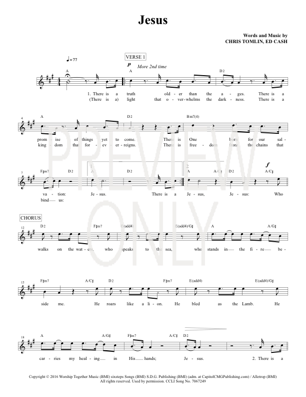 Jesus Lead Sheet, Lyrics, & Chords | Chris Tomlin | WorshipHouse Media