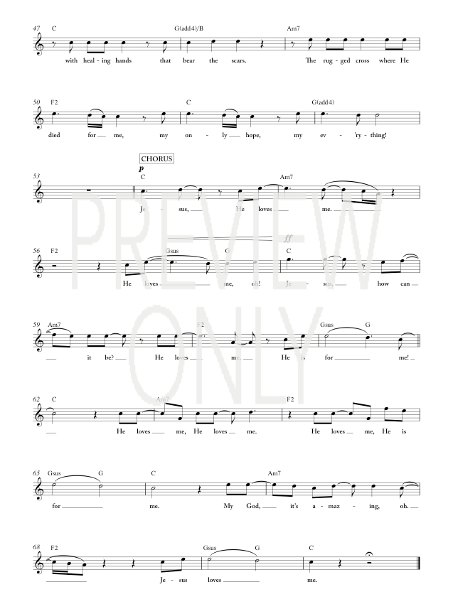 Jesus Loves Me Lead Sheet, Lyrics, & Chords | Chris Tomlin ...