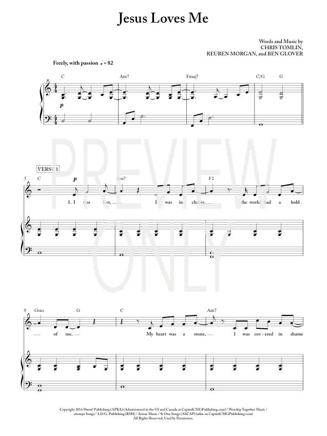 Jesus Loves Me Lead Sheet, Lyrics, & Chords | Chris Tomlin ...