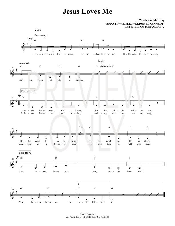 Jesus Loves Me Lead Sheet, Lyrics, & Chords | Joey + Rory ...