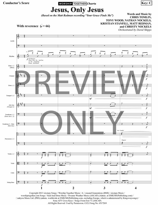 Jesus Only Jesus Lead Sheet, Lyrics, & Chords | Matt Redman ...