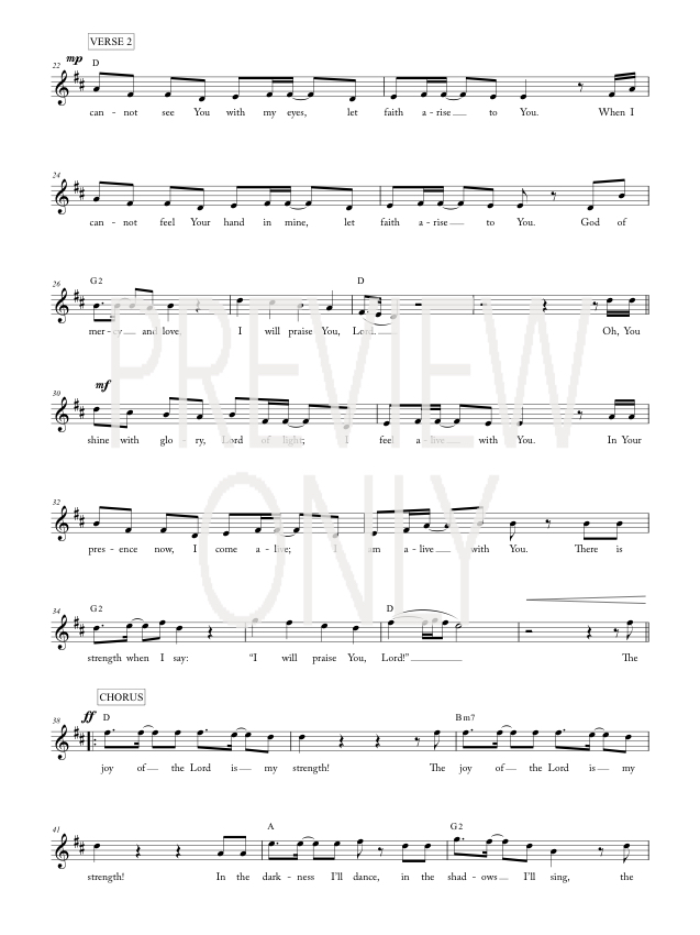 Joy Of The Lord Lead Sheet, Lyrics, & Chords | Rend