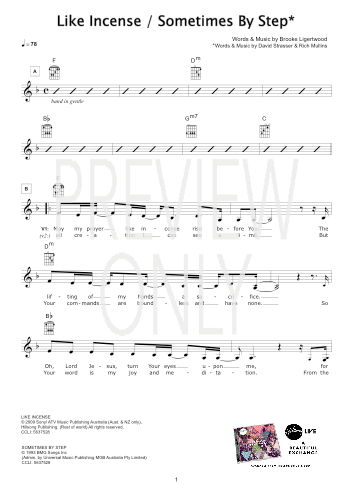 Like Incense Sometimes By Step Lead Sheet Lyrics Chords