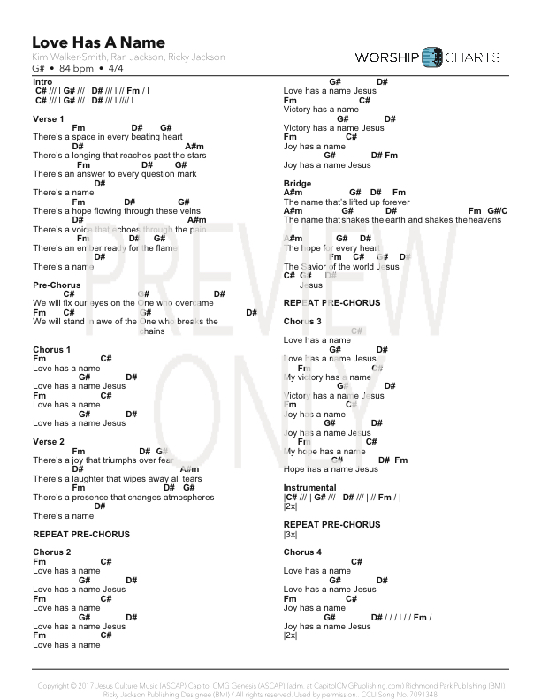 Love Has A Name Lead Sheet Lyrics Chords Jesus Culture