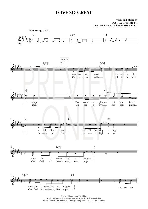 Love So Great Lead Sheet, Lyrics, & Chords | Hillsong Worship ...