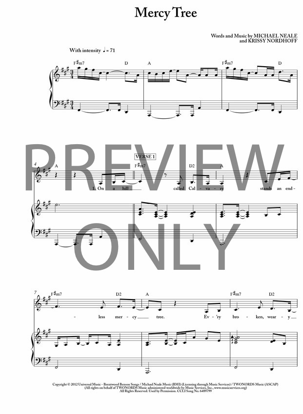 Piano mission impossible piano sheet music : Mercy Tree Lead Sheet, Lyrics, & Chords | Lacy Sturm ...