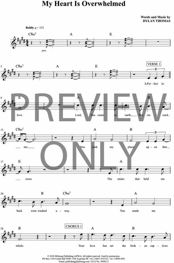 My Heart Is Overwhelmed Lead Sheet, Lyrics, & Chords | Hillsong ...