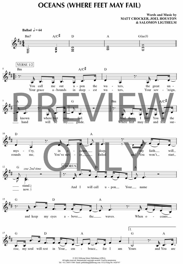 Oceans Where Feet May Fail Lead Sheet Lyrics Chords Hillsong
