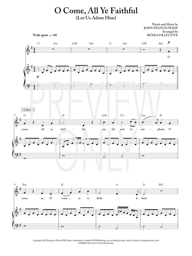 All Music Chords O Come All Ye Faithful Free Sheet Music O Come