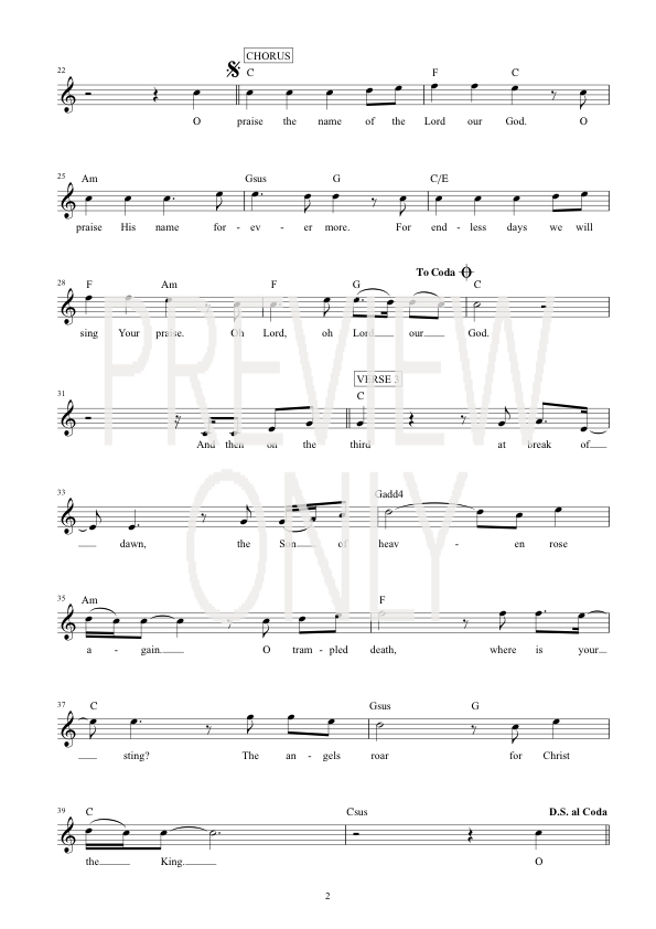 O Praise The Name Lead Sheet Lyrics Chords Hillsong Worship