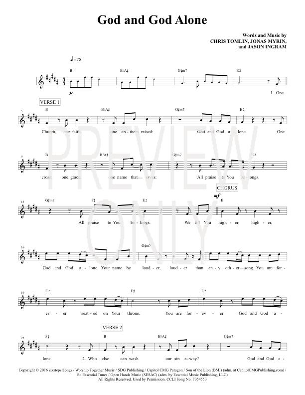 God And God Alone Lead Sheet Lyrics Chords Passion