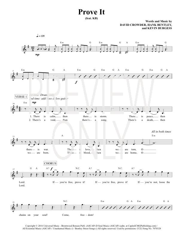 Prove It Lead Sheet Lyrics Chords Crowder Worshiphouse Media