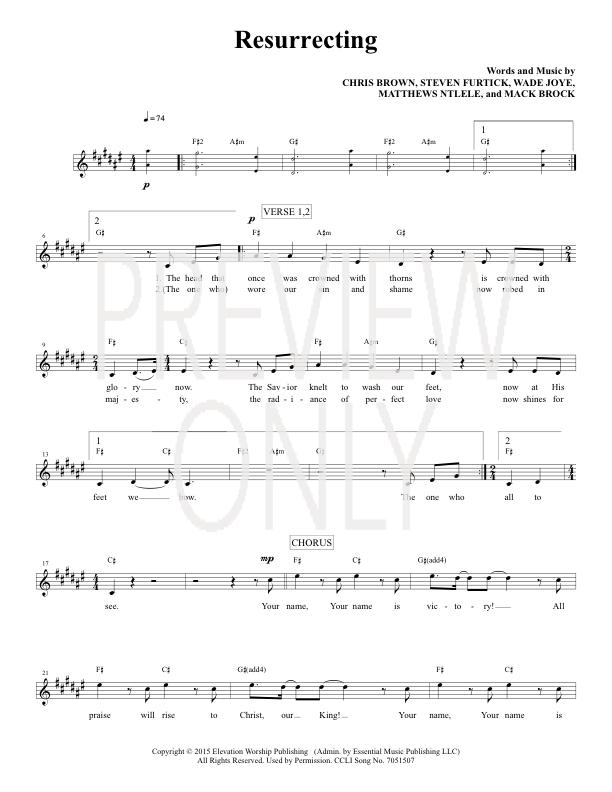 Resurrecting Lead Sheet Lyrics Chords Elevation Worship