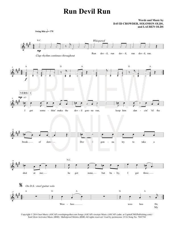 Run Devil Run Lead Sheet, Lyrics, & Chords | Crowder | WorshipHouse ...