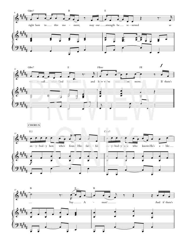 Say Amen Lead Sheet Lyrics Chords Finding Favour