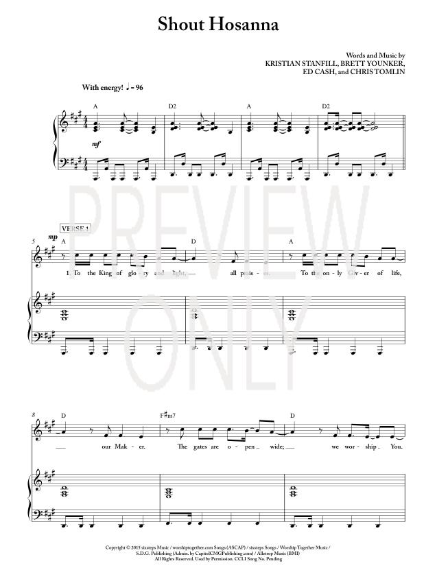 Shout Hosanna Lead Sheet Lyrics Chords Passion Worshiphouse