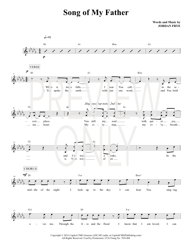 All Music Chords only you sheet music free : Song Of My Father Lead Sheet, Lyrics, & Chords | Urban Rescue ...