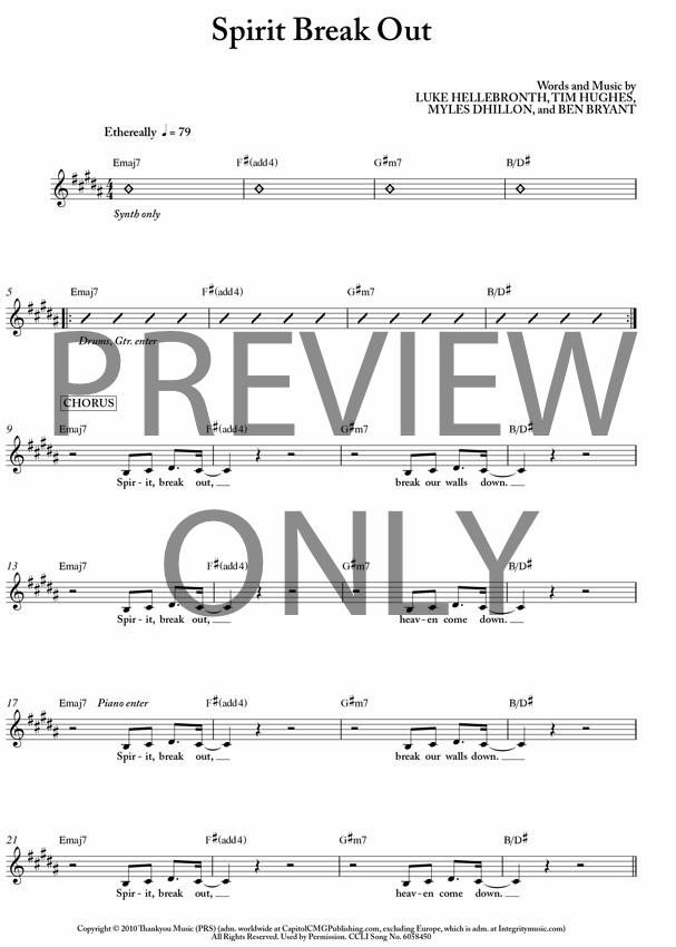 Spirit Break Out Lead Sheet, Lyrics, & Chords | Worship Central ...