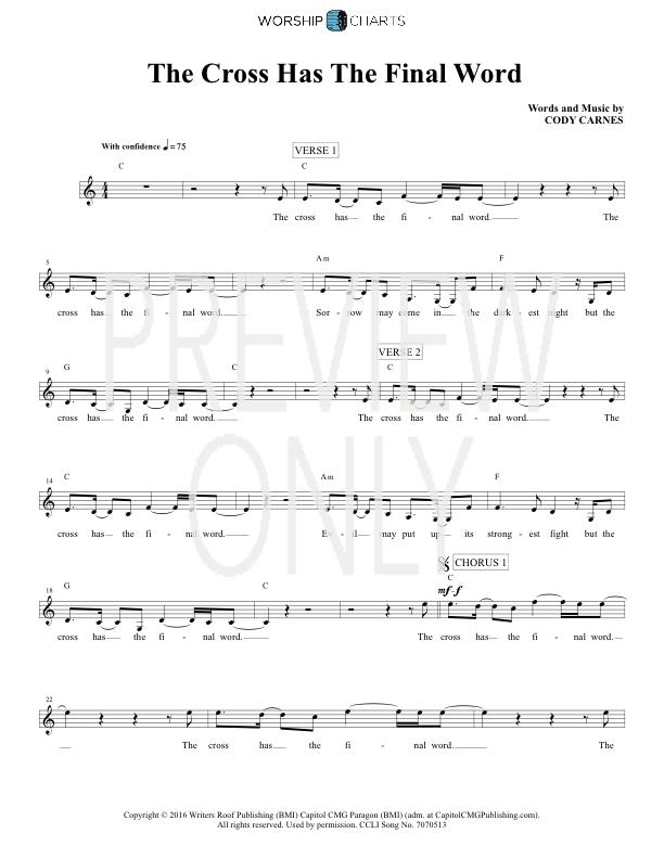 The Cross Has The Final Word Lead Sheet, Lyrics, & Chords | Cody ...
