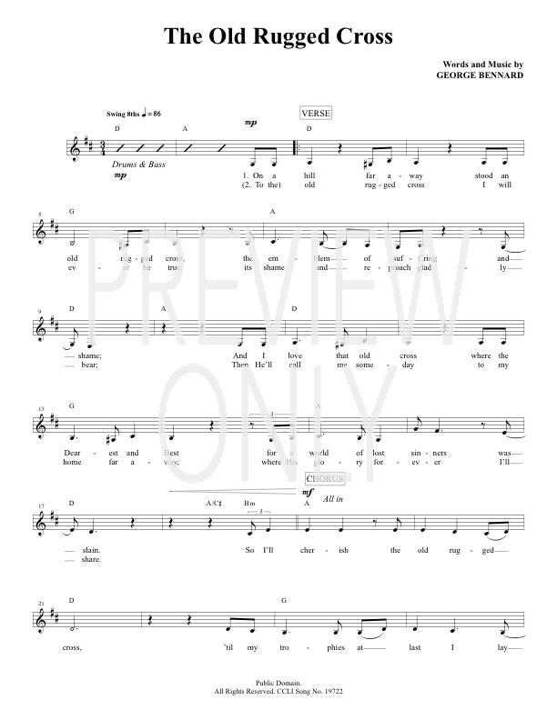 The Old Rugged Cross Lead Sheet Lyrics Amp Chords Joey