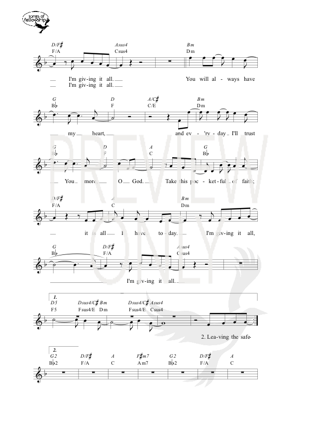 Pocketful Of Faith Lead Sheet Lyrics Chords Tim Hughes