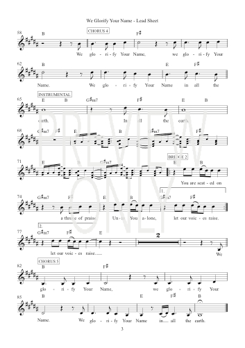 We Glorify Your Name Lead Sheet Lyrics Chords Hillsong Worship