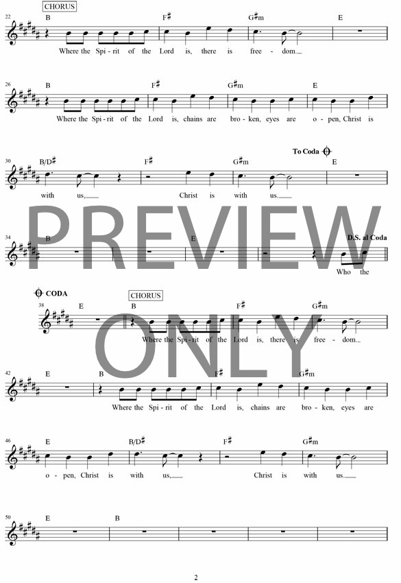 Where The Spirit Of The Lord Is Lead Sheet, Lyrics, & Chords