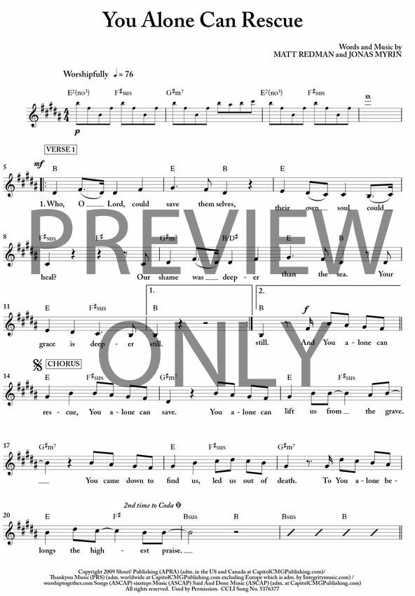 You Alone Can Rescue Lead Sheet, Lyrics, & Chords | Passion ...
