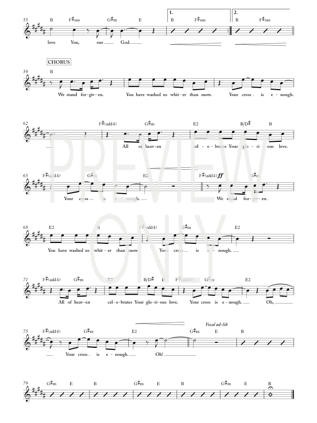 Your Cross Is Enough Lead Sheet, Lyrics, & Chords | Worship Central ...
