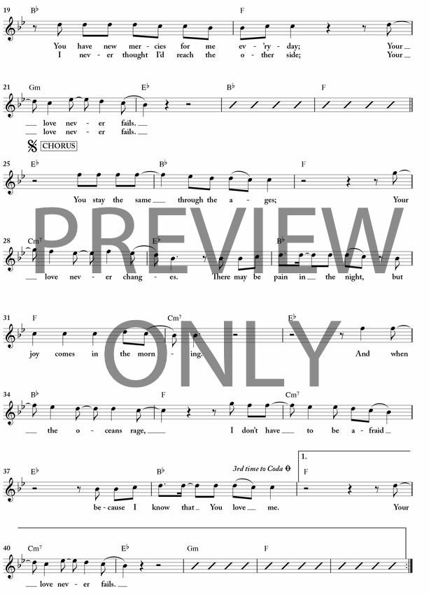Your Love Never Fails Lead Sheet, Lyrics, & Chords | Chris McClarney ...