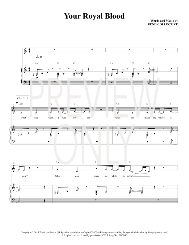 Your Royal Blood Lead Sheet Lyrics Chords Rend Collective