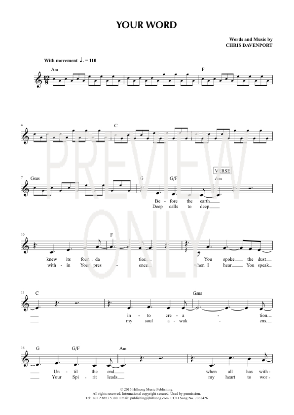 Your Word Lead Sheet, Lyrics, & Chords | Hillsong Worship ...